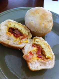 "Bacon, egg & cheese ""cupcakes""  Use frozen bisquits (defrosted & rolled out) tp with cooked egg, meat of choice, cheese (I like to add salsa to mine or green chilies).  Roll up and crimp seams.  Put in prepared muffin tins and bake 15 mins or until golden!!  They keep well in the fridge and reheat well!"