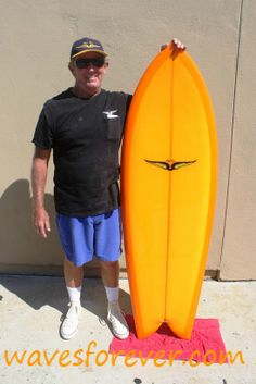 Master surf craft crafter......Skip Frye with a mellow yellow 5'6″ Fish. Pure California Gold !