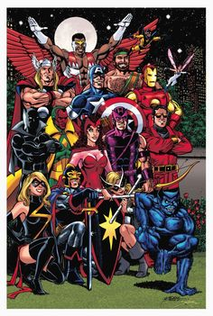 I believe that this was a commissioned piece that George Perez was asked to do that incorporated most of the Avengers that were current around the 1979 - 1980 time period.  George is sure Awesome at doing group pictures!!