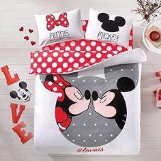 Disney Mickey & Minnie Mouse Parure de lit housse de couette 100% coton/Mickey Love Minnie Mouse Housse de couette 4 pièces New sous licence par DHL Express