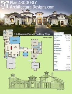 Architectural Designs House Plan 430003LY gives you a gorgeous 3 bedroom single floor European plan 430003LY with a dramatic 2 living wings with 3700+sq ft and 2 garages. Ready when you are. Where do YOU want to build