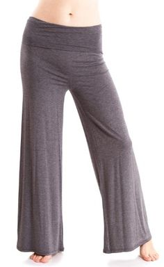 Heather Gray Ladies Wide Leg Modal Spandex Fold Over Yoga Pants USA Made ** Check out this great product.