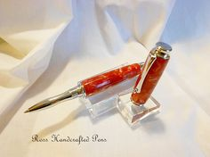 Roller Ball Pen  Ruby Red Acrylic by RossHandcraftedPens on Etsy