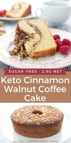 This keto walnut coffee cake is a bakery style cake with a walnut cinnamon swirl. An amazing low carb, sugar free brunch treat! Low Carb Chicken Recipes, Healthy Low Carb Recipes, Ketogenic Recipes, Low Carb Keto, Keto Recipes, Dinner Recipes, Keto Chicken, Soup Recipes, Low Carb Sweets
