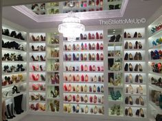 """This is my exact type of """"shoe closet"""" ..that I'm actual in the process of getting this made, but just for shoes, lol, I'm using a spare bedroom to turn into a huge closet where their are couches, table, mirrors, everything, can't wait...this is my TORAL style, mirror on top n everything~! BEST SHOE CLOSET I THINK EVER(just shoe area but whole room made up with other wardrobe n furniture items..gotta show this to my designer! ❤️❤️❤️❤️ it!!!"""