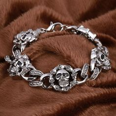 Gothique Punk Unisexe Bracelet rock vapeur PU Cuir Crâne Spike Cuff Bracelet