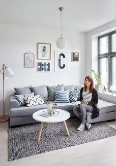 gris perle salon canapé angulaire tableaux tapis gris anthracite