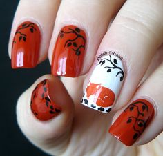 Fox nail art. #fox #nails #nailart