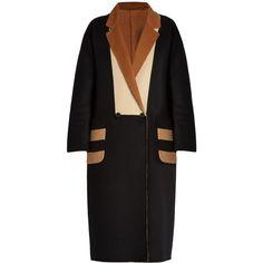 Max Mara Kipur coat ($3,190) ❤ liked on Polyvore featuring outerwear, coats, black multi, maxmara, double breasted coat, reversible coats, maxmara coat and wool blend double breasted coat