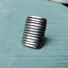 Adjustable Sterling Silver Striped Ring by MUSIBATTY on Etsy, $177.00