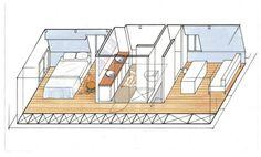 La chambre principale, la salle de bains, la montée d'escalier et le bureau-chambre d'amis. Amsterdam, Loft, Deco, Bedroom Office, Wall Desk, Room, House, Deko, Lofts