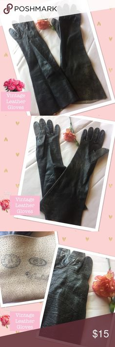 """Gorgeous Vintage Ladies Gloves in Black Leather Gorgeous Vintage Ladies Gloves in Black Leather.  Meaures 3x13.25""""  Interior too old to read the printed/ stamped writing.  Cool looking gloves!  Nice vintage condition.  Estimated Value:  $50. Accessories Gloves & Mittens"""