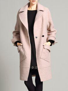#AdoreWe #StyleWe Coats - VC Simple Long Sleeve Solid Wool blend Coat - AdoreWe.net