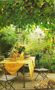 Backyard picnic table with yellow tablecloth