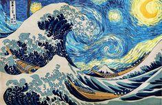 HD wallpaper: The Great Wave of Kanagawa painting, Hokusai, starry night, Vincent van Gogh