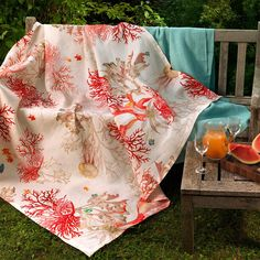 Add color and design with the Aquarius printed tablecloth. This bright coral and oceanic themed printed tablecloth is versatile to dress up for an evening of entertaining or for a Sunday family brunch on the loggia. Linen Tablecloth, Table Linens, Table Accessories, West Palm, Brunch, Pure Products, Table Decorations, Toscana, Prints