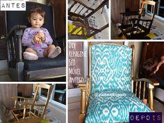Repaginando sua cadeira de balanço: DIY Pintar e Trocar Estofado | Mamãe Plugada