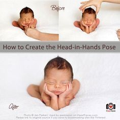 """Learn how to safely create the """"Head in Hands"""" pose in Photoshop. Newborn Photography Tutorial via iHeartFaces.com"""