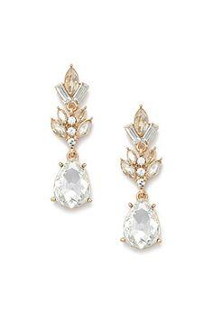 Rhinestone Teardrop Drop Earrings   Forever 21 - 1000181309