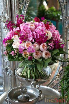 Arrange like bouquet, stand on wide vase for water nourishment Floral Bouquets, Wedding Bouquets, Wedding Flowers, Wedding Centerpieces, Pink Bouquet, Purple Bouquets, Tall Centerpiece, Bridesmaid Bouquets, Boquet