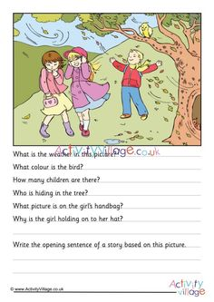 Here's a simple picture comprehension worksheet that even younger children can try. Can the kids study the windy day picture and answer some questions about what they see? English Stories For Kids, Learning English For Kids, English Lessons For Kids, English Fun, Learn English Words, English Grammar, French Lessons, Spanish Lessons, Teaching Spanish