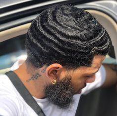 Black Boys Haircuts, Black Men Hairstyles, Haircuts For Men, Men's Hairstyles, Waves Hairstyle Men, Waves Haircut, Beard Styles For Men, Hair And Beard Styles, 360 Waves Hair