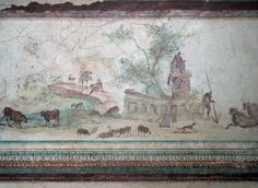 Bucolic scene, La Villa della Farnesina, corridor G, now in the Museo Nazionale Romano