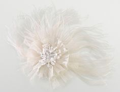 Ivory Marabou Feather Hair Clip or Pin $14.50 at www.fortheido.com