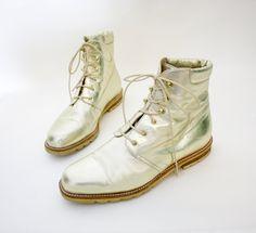 Vintage boots. La Collegienne gold tone ankle booties
