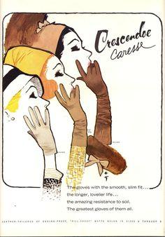 Crescendoe 1965 Sept Gruau Mode Vintage Illustration, Pin Up Illustration, Jacques Fath, Balmain, Vintage Outfits, Vintage Fashion, Vintage Clothing, Elegant Gloves, Rene Gruau