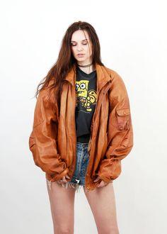 80s Tan Brown Jacket / Vintage Bomber / Leather Bomber / Leather Jacket / Camel Jacket / Men XL Jacket by Ramaci on Etsy