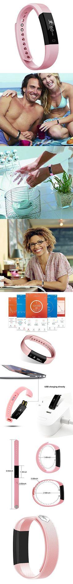 Fitness Tracker, MoreFit Slim Touch Screen Activity Health Tracker Wearable Pedometer Smart Wristband, Black/ Blush