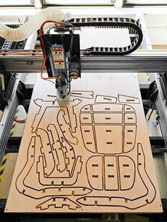 With a borrowed CNC router, we cut all the pieces for this Eames chair from a… Routeur Cnc, Diy Cnc Router, Cnc Woodworking, Woodworking Projects, Casa Bunker, Machine Cnc, Cnc Maschine, Cnc Plans, Cnc Router Plans