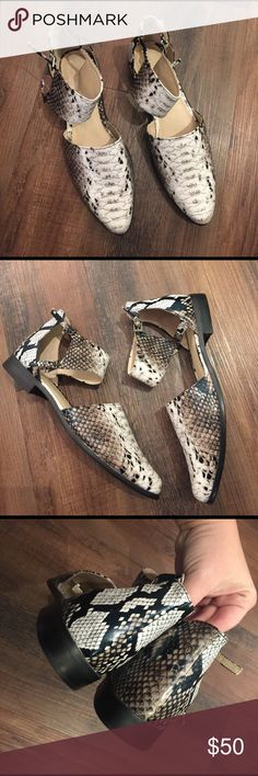 ASOS Snake Print Pointed Shoes ASOS Snake Print Pointed Shoes.  Snakeskin effect.  Pointed Toe, cutout design.  Pin Buckle closure.  100% polyurethane.  Great condition.  Like new.  UK Size 6 marked on shoes which is a US size 8. ASOS Shoes