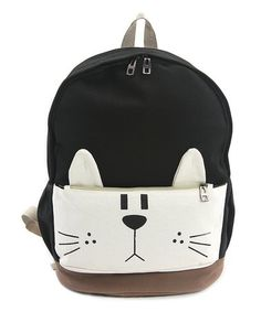 Love this Black & White Cat Canvas Backpack on #zulily! #zulilyfinds