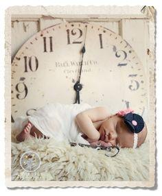 Newborn with Keys and Clock