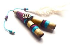 Purple Trinity Sacred Geometry Small Kuripe, THICK Shamanic snuff applicator for Rapé. Sacred tobacco Medicine for Ayahuasca ceremonies