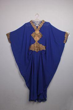 Wedding Moroccan Blue Chiffon islamic Caftan Party Maxi Dress Gold Embroidery #Handmade #MaxiDress #weddingparty
