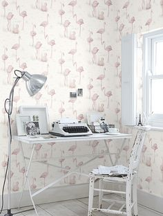White workspace + Flamingos wallpaper by Cole & Son