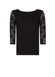 Lace sleeves t-shirt - Women Stylish Clothes, Stylish Outfits, Springboard, Lace Sleeves, T Shirts, Passion For Fashion, Jumper, Mango, Sweaters