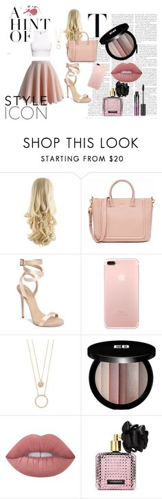 Pretty In Pink by cupcakelover635 on Polyvore featuring Giuseppe Zanotti, Kate Spade, Edward Bess, Lime Crime, Charlotte Russe, Victoria's Secret, H&M, Chicwish, Spring and chic