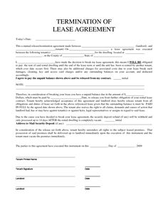 Personal Property Rental Agreement Forms | Property Rentals Direct    Termination Of Lease Agreement Form  Auto Purchase Agreement