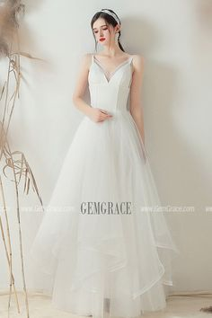 d2d8e7674162 Gorgeous V-neck Ruffled Simple Wedding Dress With Straps #YS618 at  GemGrace. #BeachWeddingDresses Shop now to get $10 off. Pro custom-made  service for ...