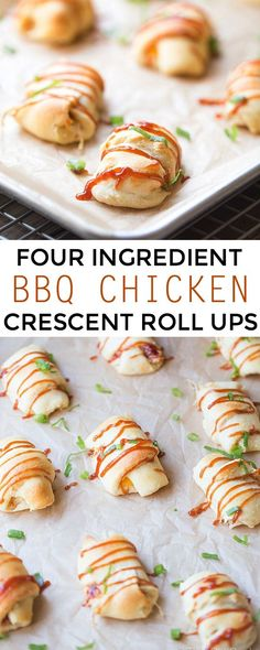 Four Ingredient BBQ Chicken Roll Ups. A Simple Appetizer | This Gal Cooks #SweetBabyRays @Julie | This Gal Cooks