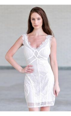 238102f4fc3 All Mixed Up Lace Fitted Dress in Off White White Lace Cocktail Dress