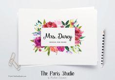 Instant Download Logo Photoshop Watercolor Floral Logo Design for e-commerce…