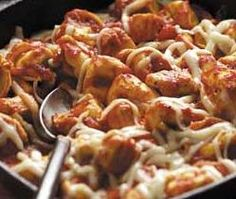 This recipe comes from the Taste of Home Magazine.It doesn't get any faster or easier than this!YOU WILL NEED: 4 cups frozen cheese tortellini1 pound boneless skinless chicken breasts, cubed (3 to 4 breasts)*or use pieces of Rotisserie chicken2-3 tablespoon Crisco oil2 cups of your…