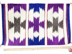 "Gallup Throw Rug, Navajo Wool Cotton, Handwoven, 19 1/2"" x 37"""