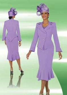 Ben Marc 47705 Womens Flattering Church Suit - Women's flattering three piece church suit has a 28 inch jacket and 36 inch skirt MATCHING HAT 47705-H sold separately for $157.99