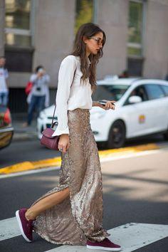 falda larga glitter